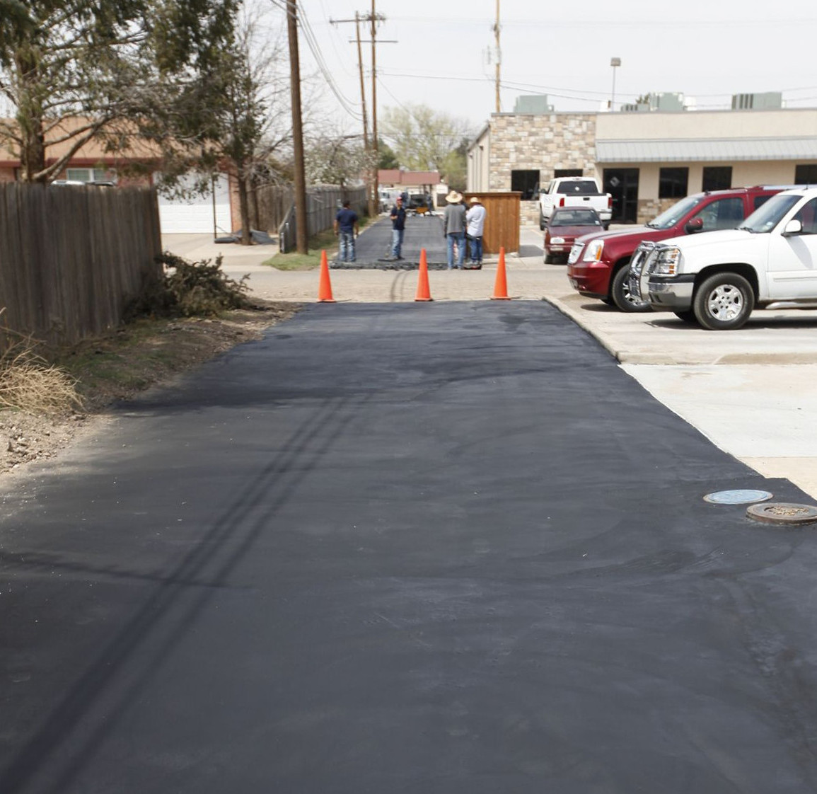 After photo of a asphalt street overlay install.